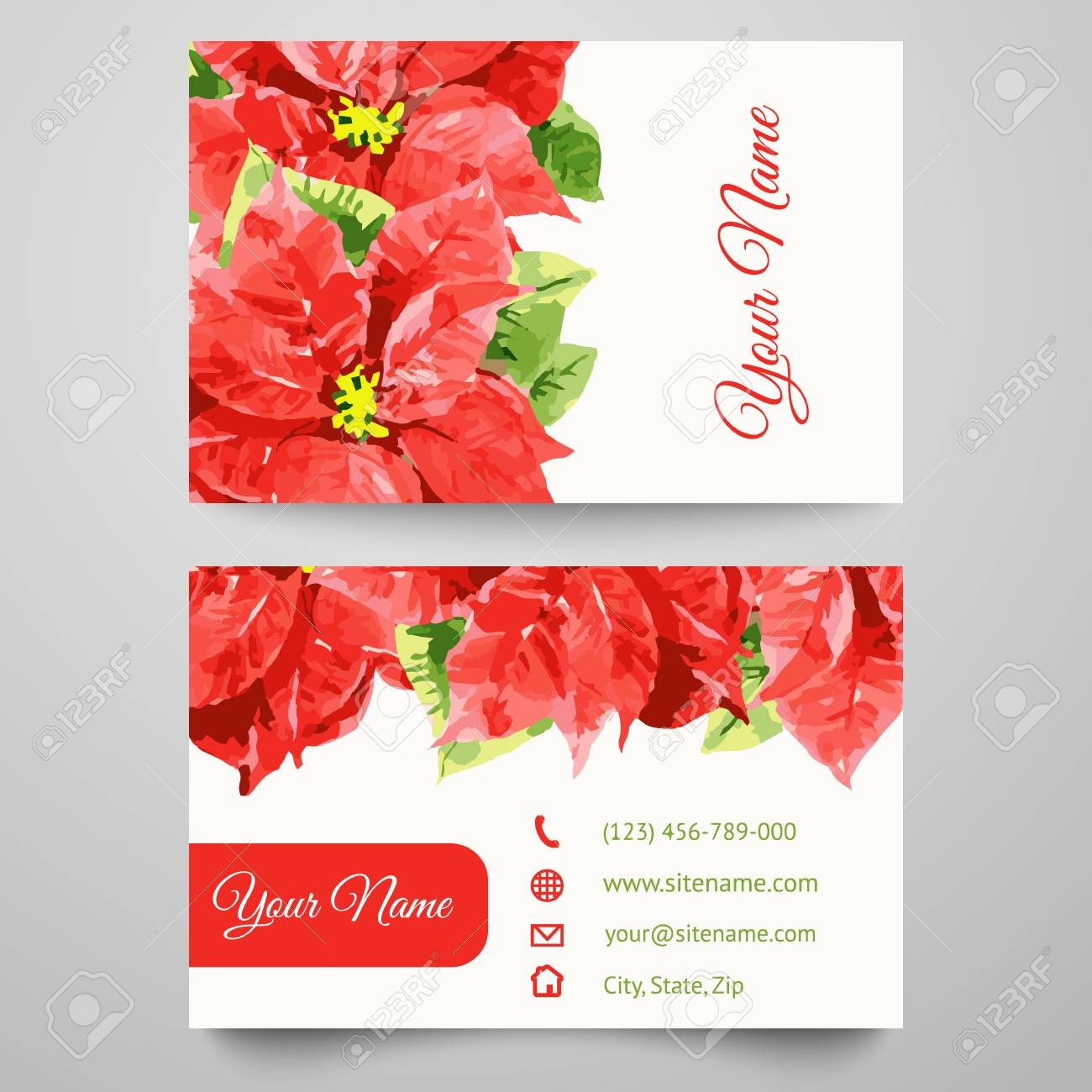 Set Of Business Card Templates With Beauty Red And Pink Flowers ...