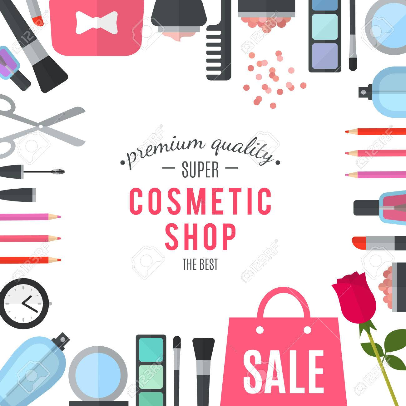 0bf7663c96 Illustration - Professional quality cosmetics shop. Woman mobile online  shopping. Accessories and cosmetics. Purchases in beautiful wrapped boxes.