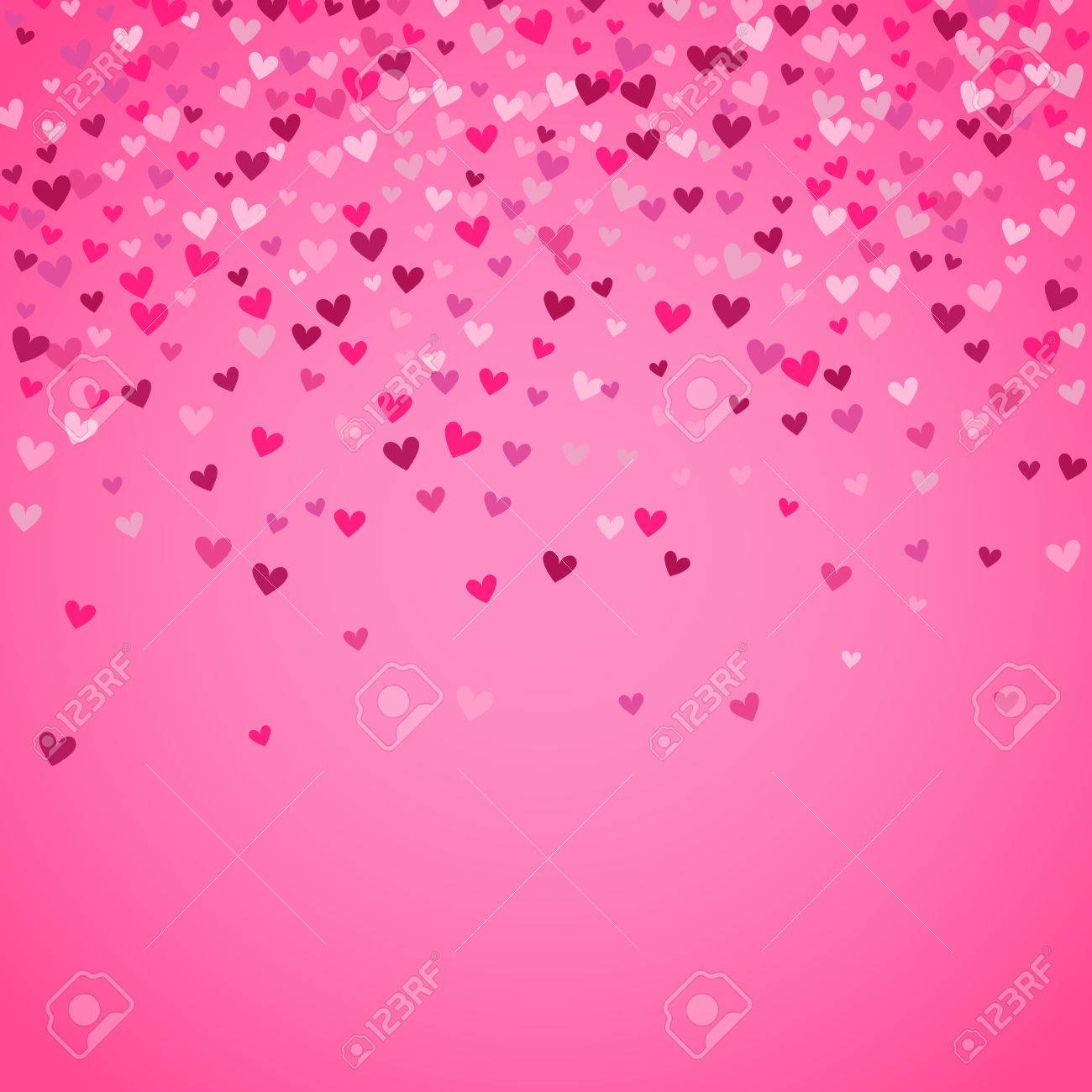 Romantic pink heart background. illustration for holiday design. Many flying hearts on pink background. For wedding card, valentine day greetings, lovely frame. - 56647267
