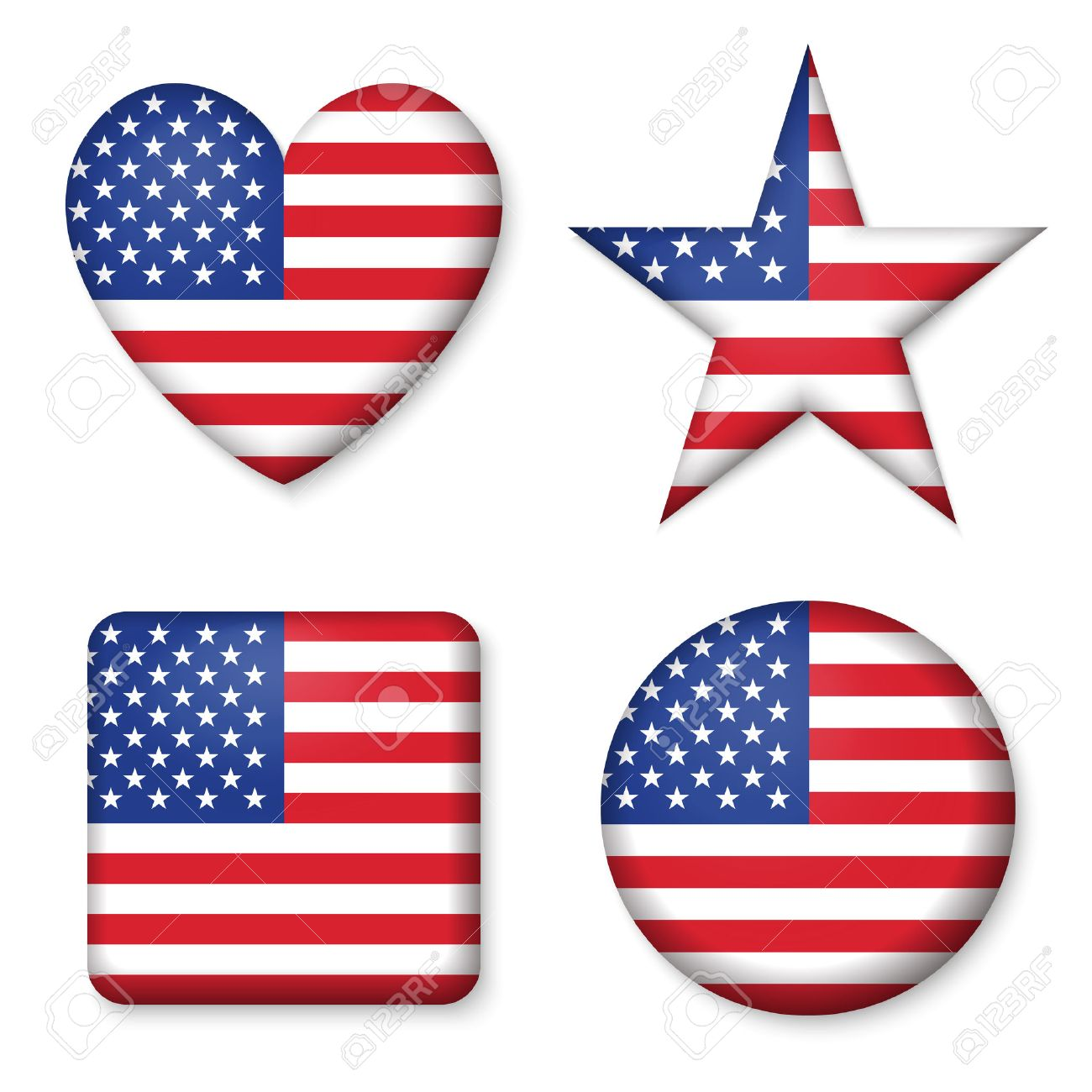 American United States Flag in glossy form button of icon. USA emblem isolated on white background. National concept sign. Independence Day Symbol. 4 July. Set of circle, star, heart, square elements - 57513798