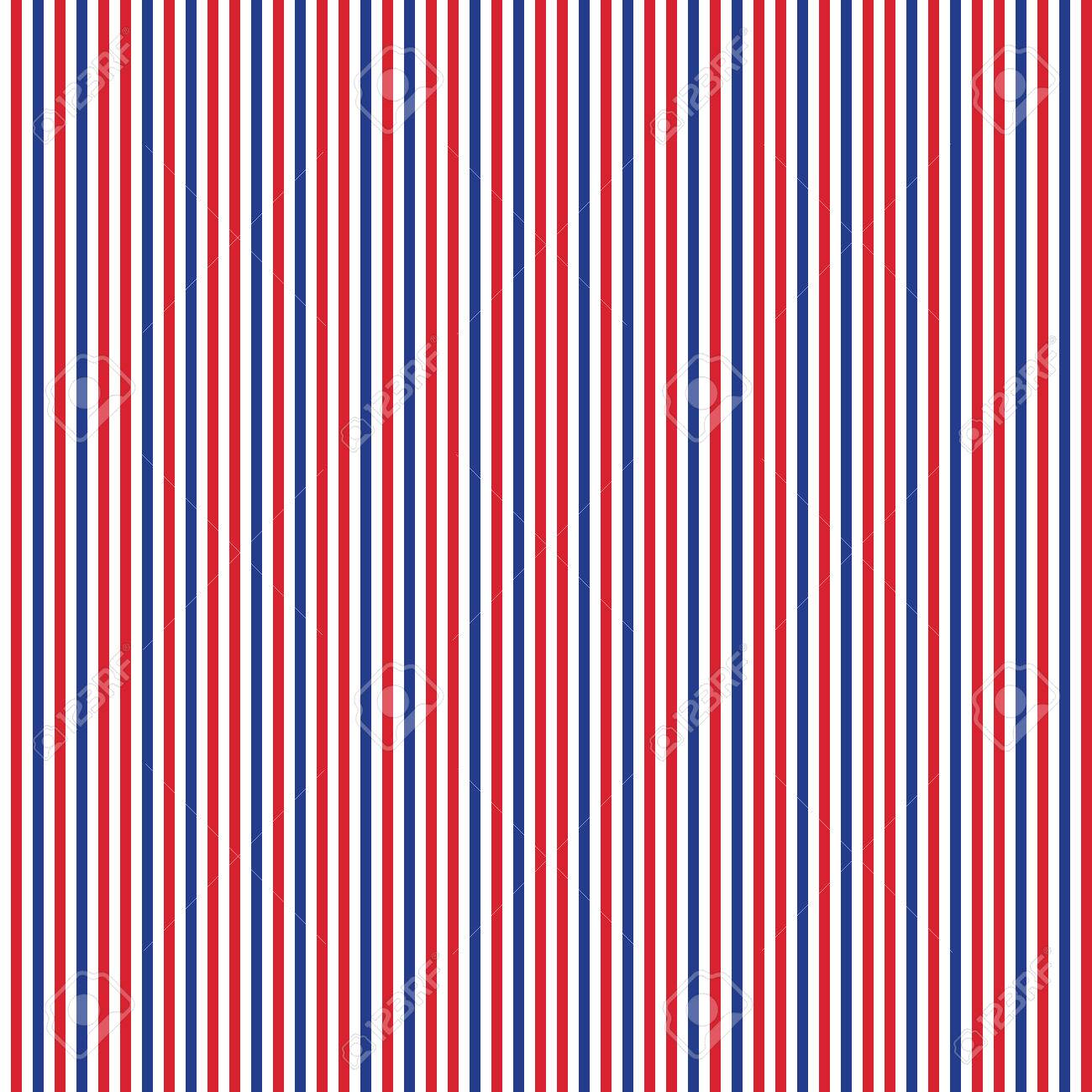 Patriotic Red White Blue Geometric Seamless Pattern Vector Illustration With American Symbol