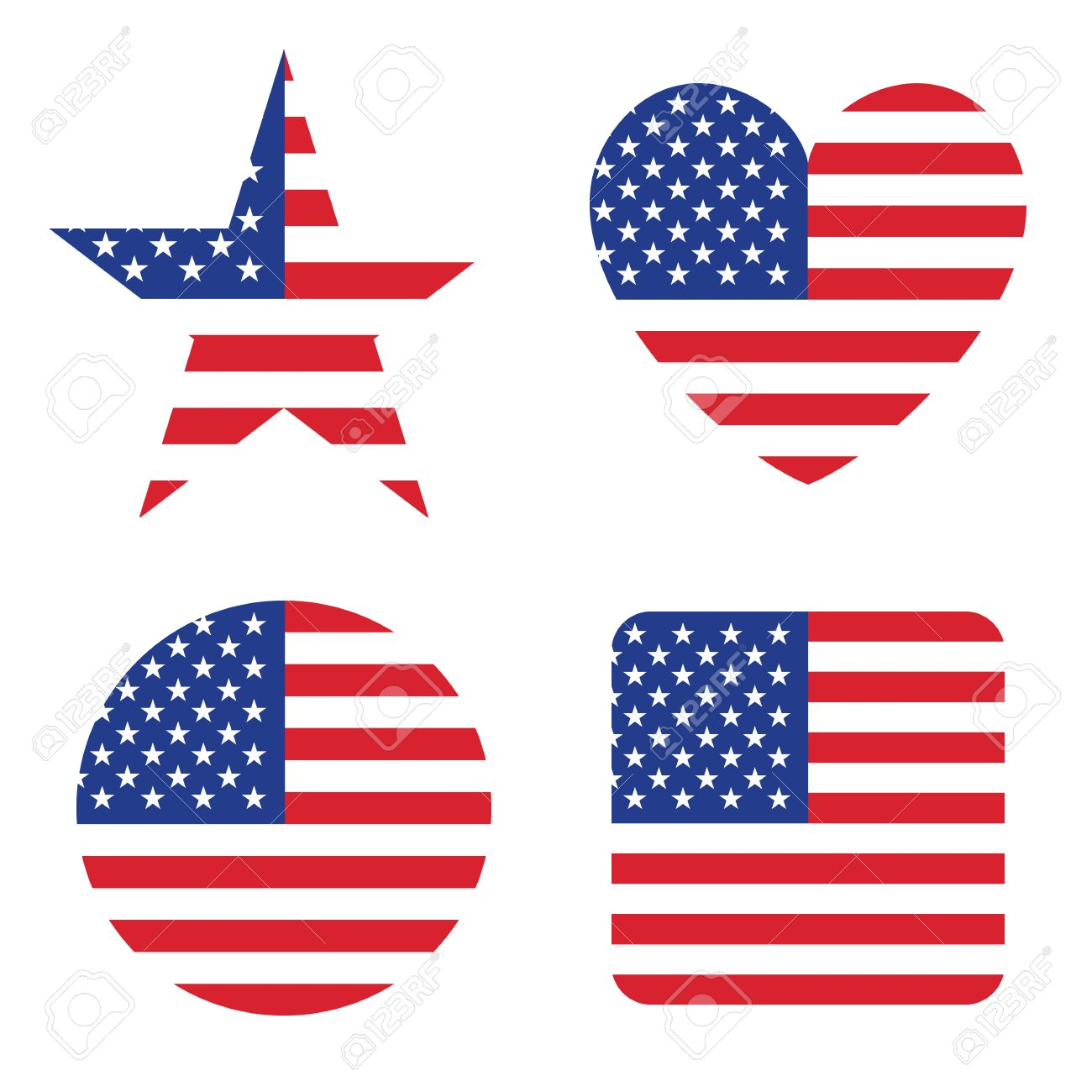 American United States Flag In Form Button Of Icon. USA Emblem ...