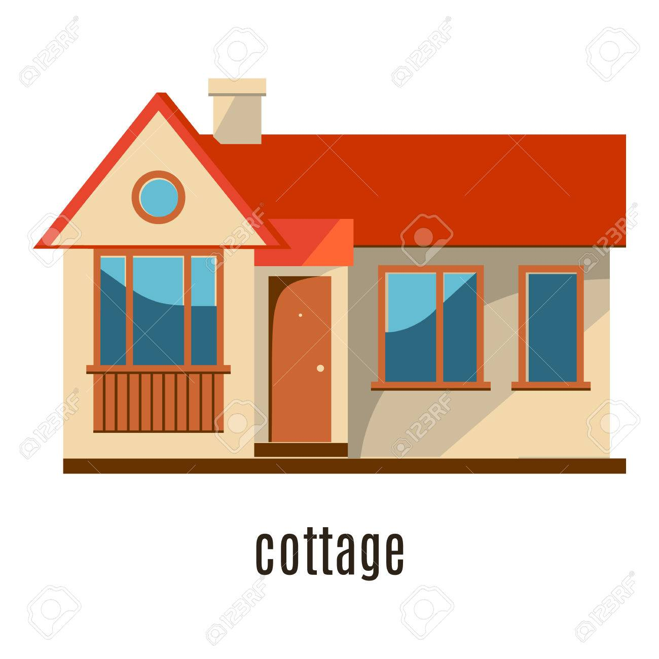 House design cartoon - Flat House Icon Isolated On White Background Vector Illustration For Real Estate Design Cute