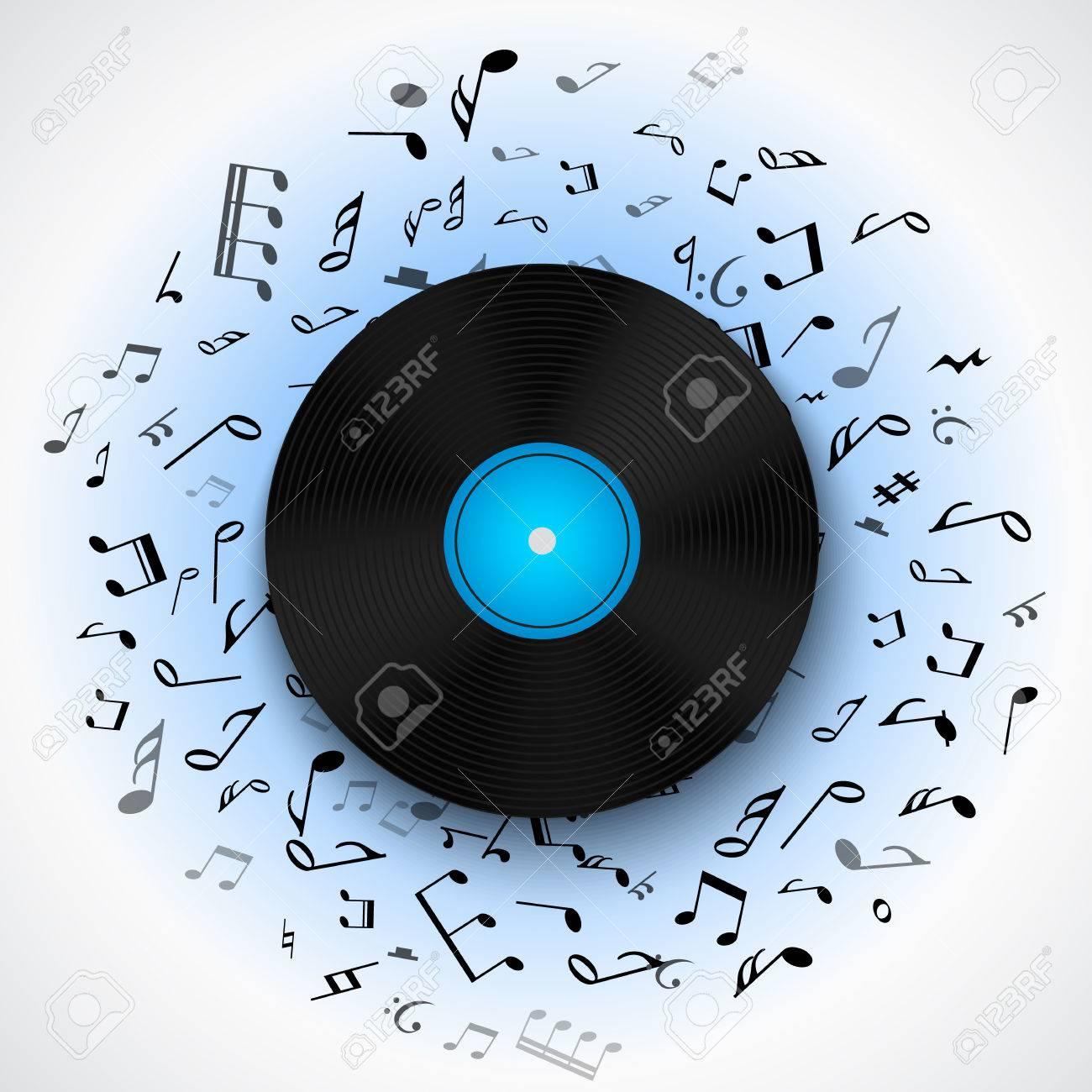 Fondo Musical Abstracto Con El Disco De Vinilo Del Disco Lp álbum ...