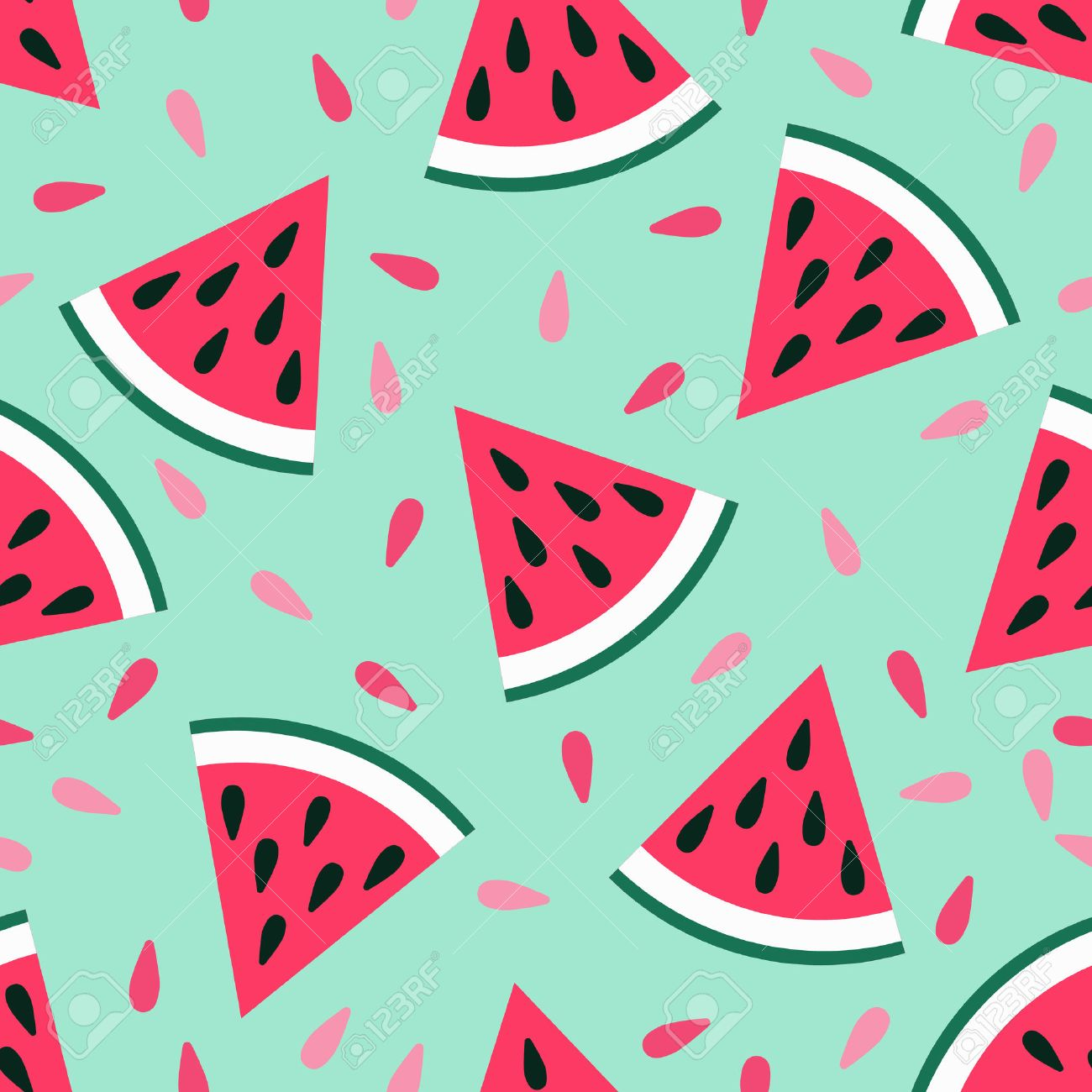 Cute seamless watermelon pattern on blue background. Vector illustration for sweet summer fruit design. Slice fresh food ornament. Pretty repeat wallpaper. Bright tasty cartoon decoration - 61828542