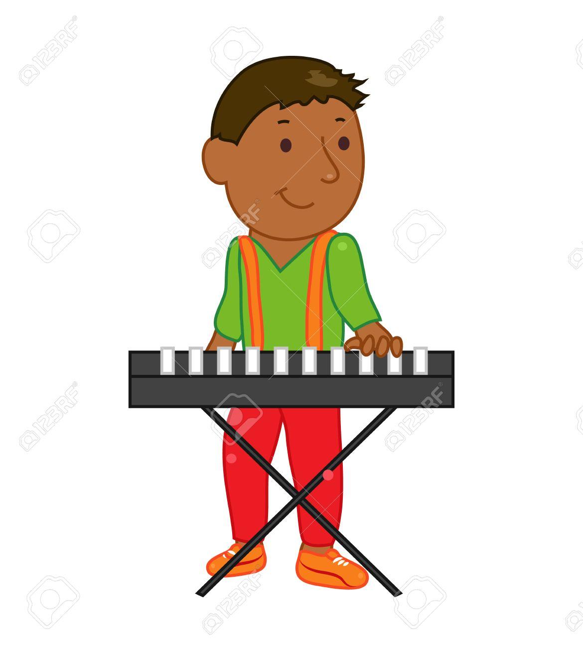 漫画音楽家の子供子供の音楽のベクトル図です少年は白い背景で隔離
