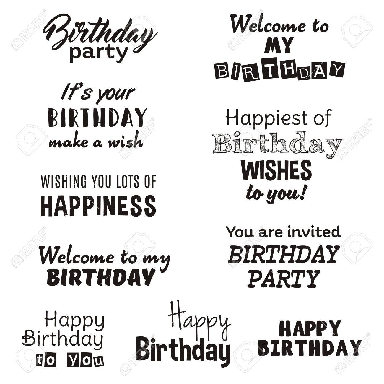 Welp Happy Birthday Typography Text Isolated On White Background WQ-88