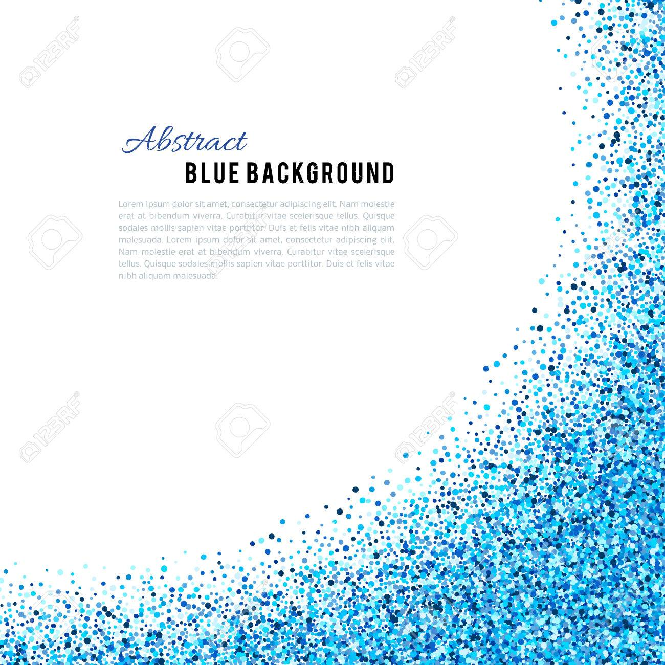Abstract blue vector background. Bright navy indigo cyan glitter confetti. Cold frost winter snow dot spot - 67666422