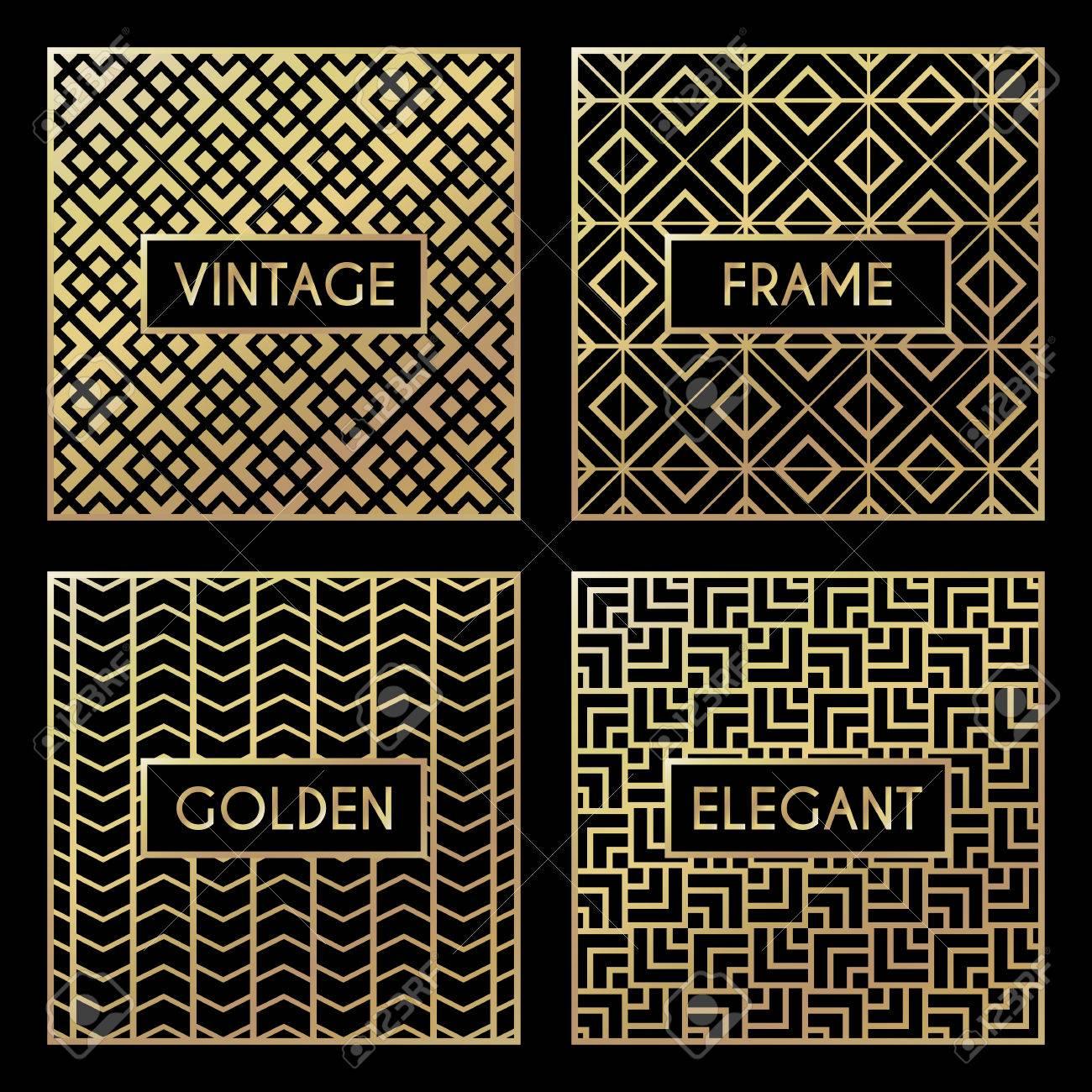 Golden vintage pattern on black background. Vector illustration for retro design. Gold abstract frame. Label set. Elegant luxury foil - 67873326
