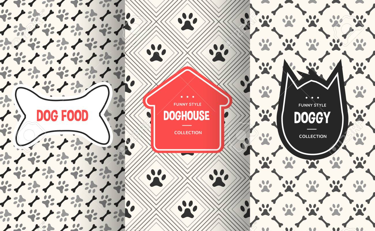 445797b94c1a Dog seamless pattern background. Vector illustration for animal pet design.  Bone, paw print