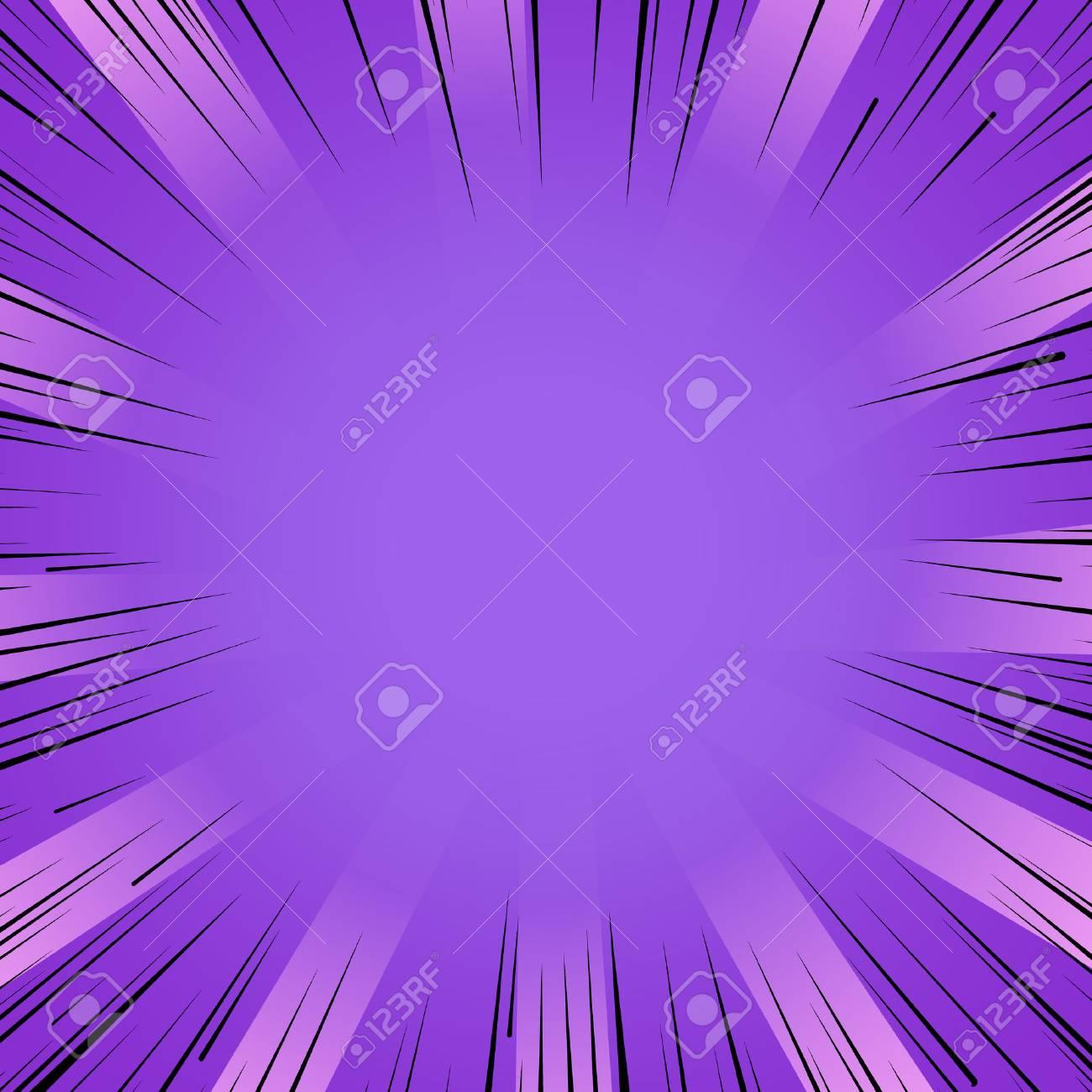 Abstract comic book flash bright purple explosion radial lines background. Vector illustration for superhero design. Light strip burst. Flash ray blast glow Manga cartoon hero fight cute print - 67874754