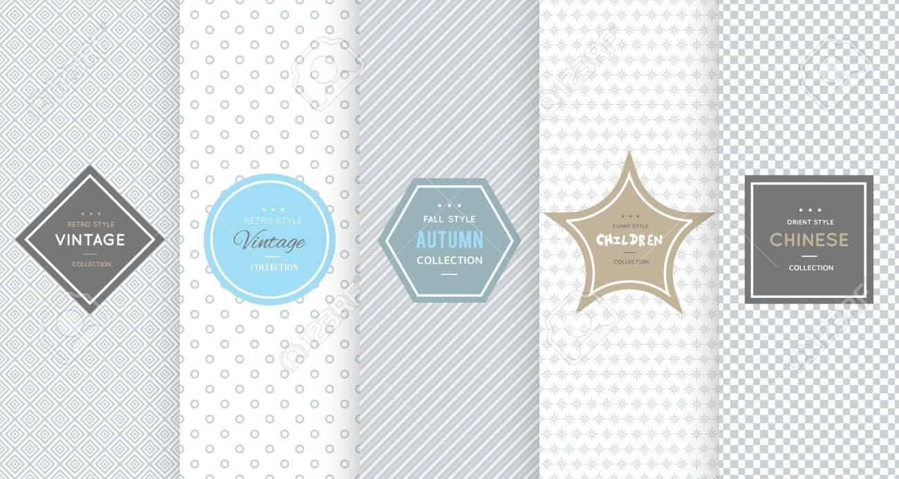 Light grey seamless pattern background. Vector illustration for elegant design. Abstract geometric frame. Stylish decorative label set. Fashion universal background. - 67875301