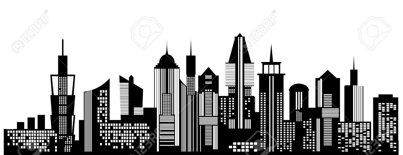 Cityscape Black Icon On White Background Skyline Silhouette Town Architecture Skyscrapers Urban City