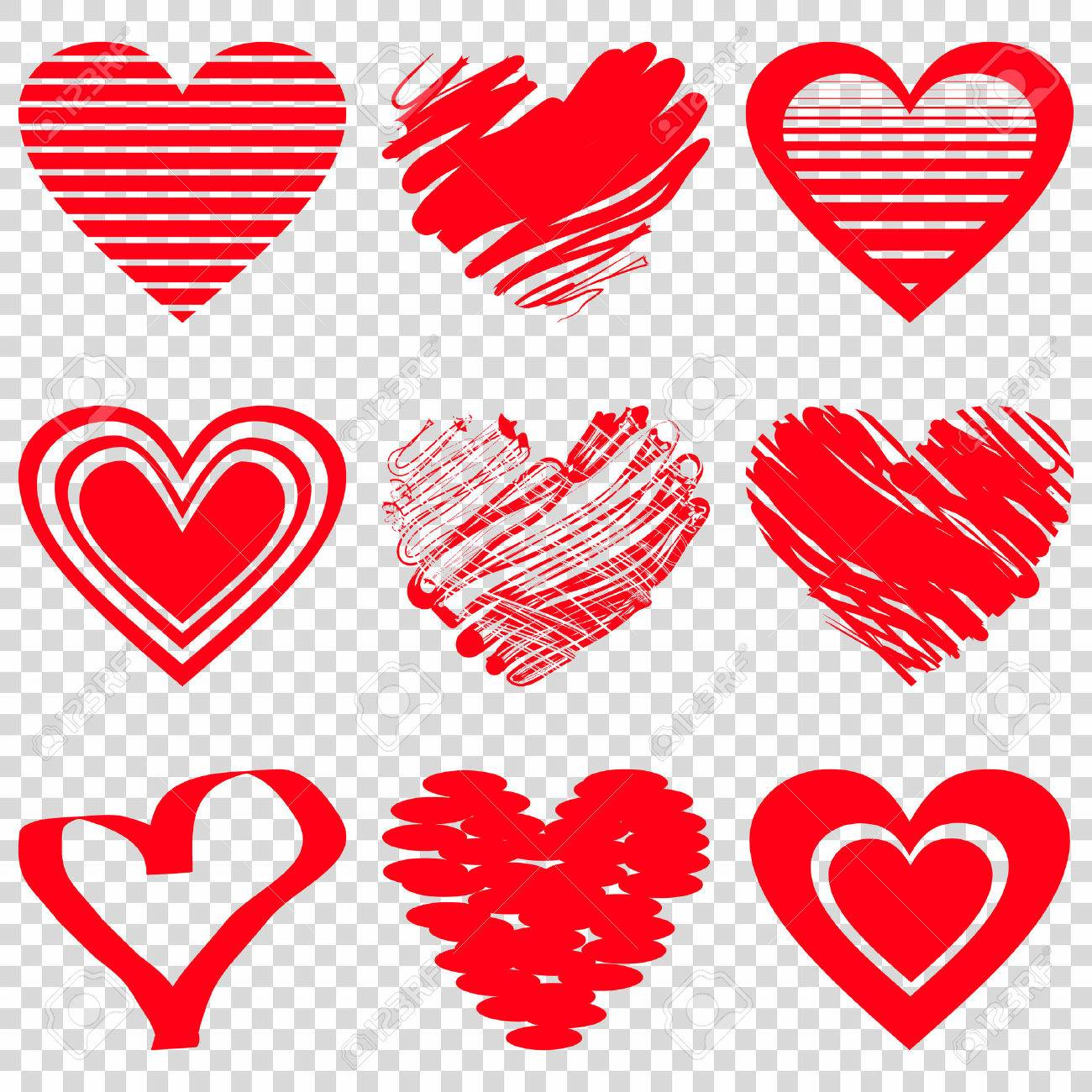 Red Heart Icons Vector Illustration For Happy Valentines Day