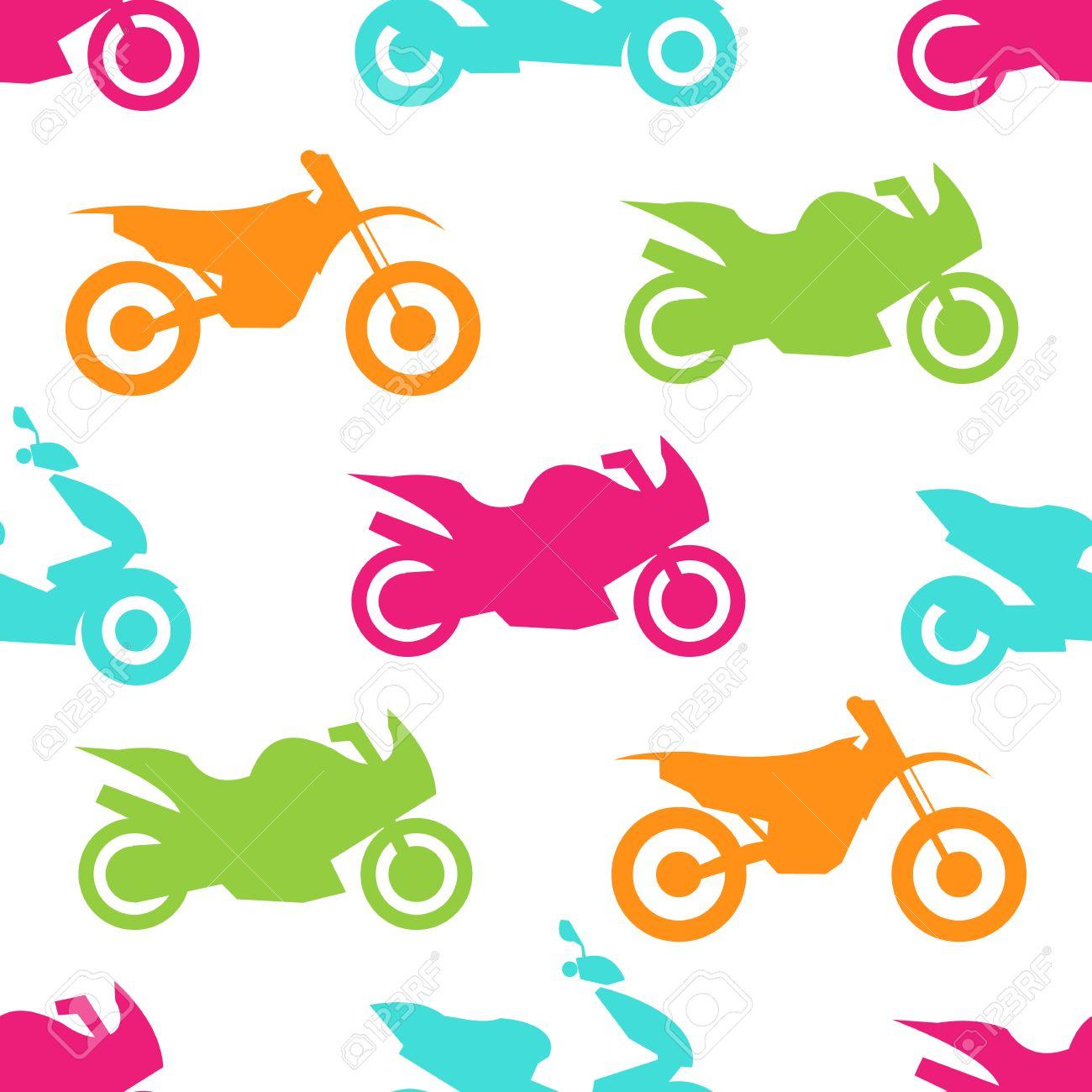 レトロなオートバイのシームレスなパターン バイク輸送デザインの