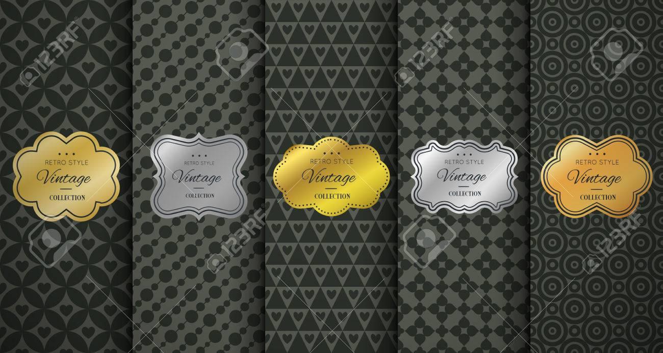b6a4a06c8e8 Golden vintage frame on black pattern background. Vector illustration for  retro design. Gold abstract