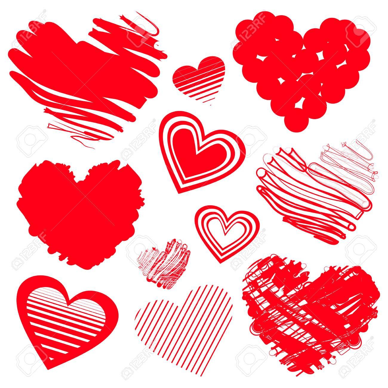 Icones De Coeur Rouge Illustration Vectorielle Pour Le Design