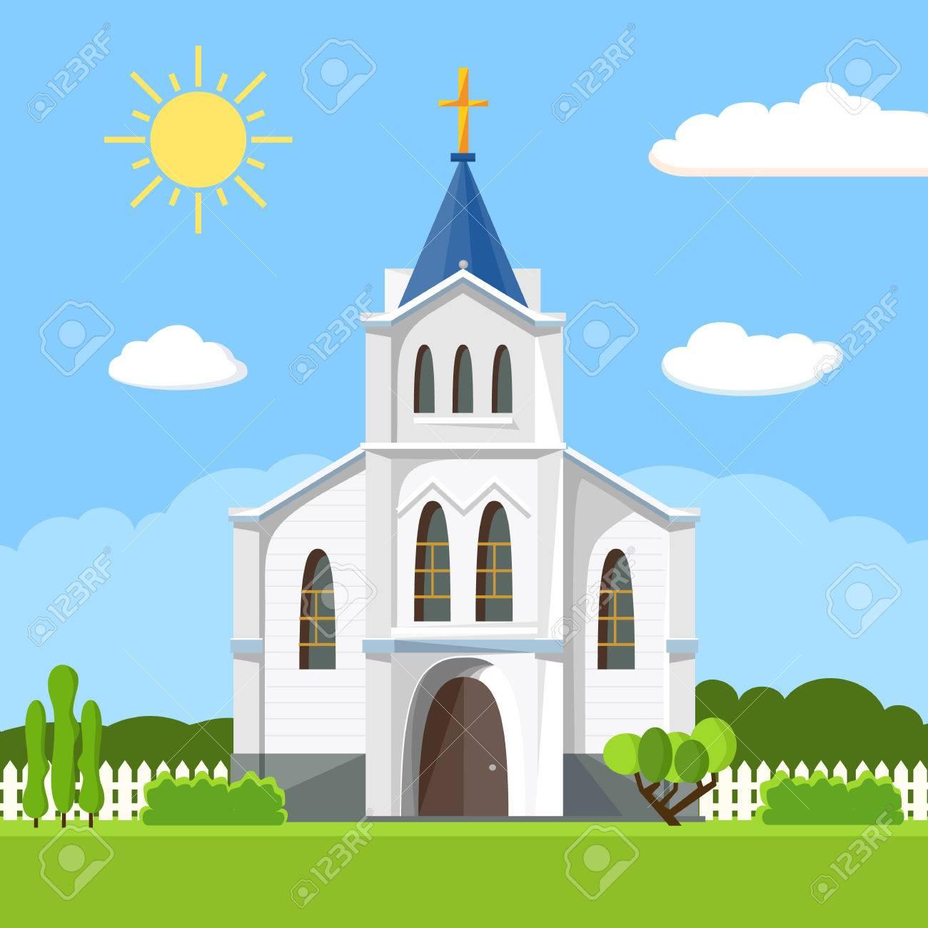 Church icon. Flat summer landscape. - 79805028