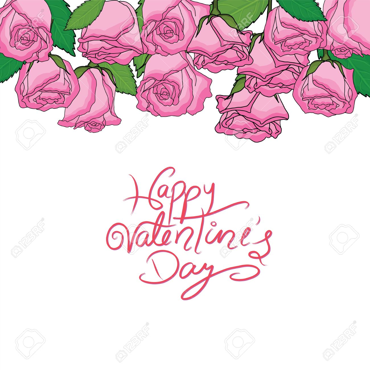 Happy Valentine S Day With Set Of Pink Roses Group Of Roses