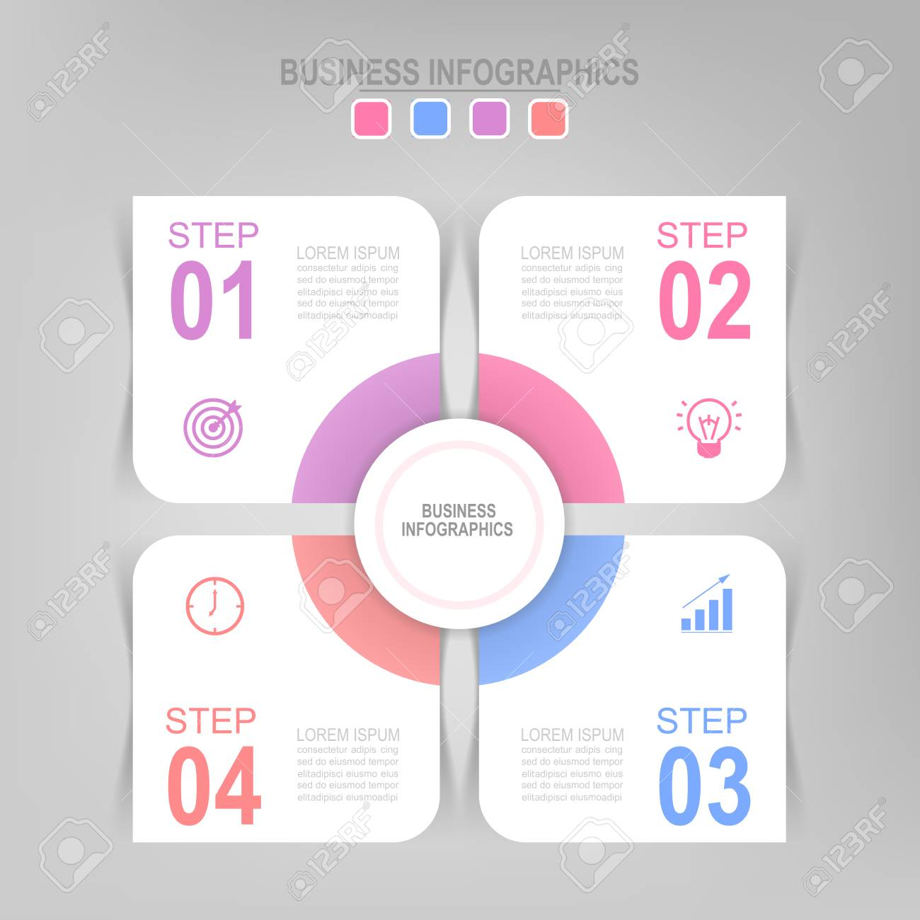 Infographic Template Four Steps On Squares With Circle Tag Banner