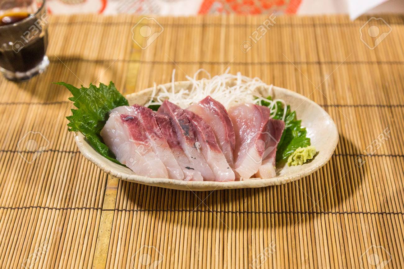 Fresh Yellowtail Sashimi Hamachi Sashimi On Bamboo Mat Stock