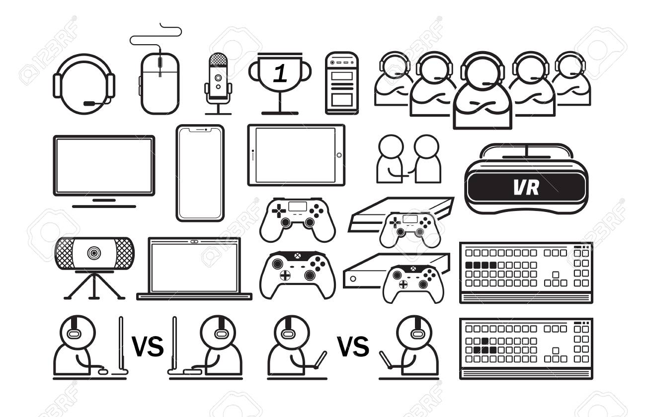 Gaming entertain thin line icons vector illustration - 111492995