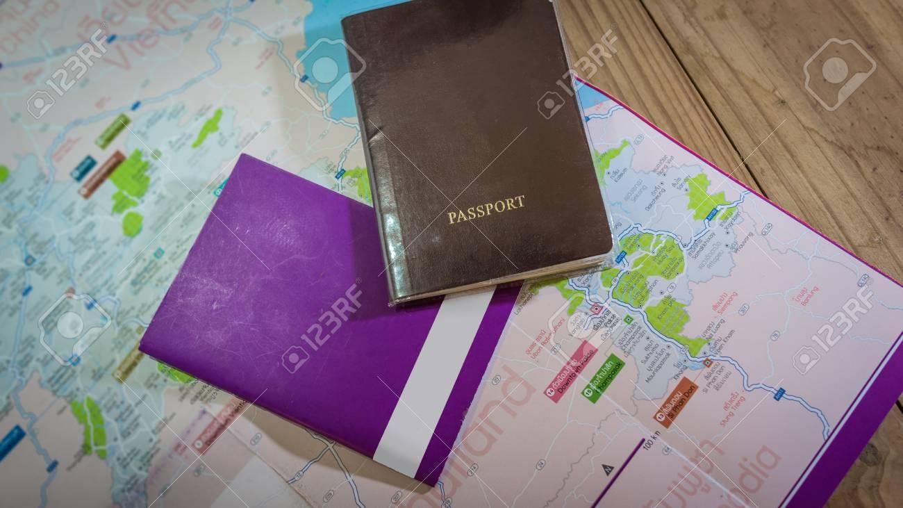 passport and vehicle passport on Laos map (Thai&English&Lao language)