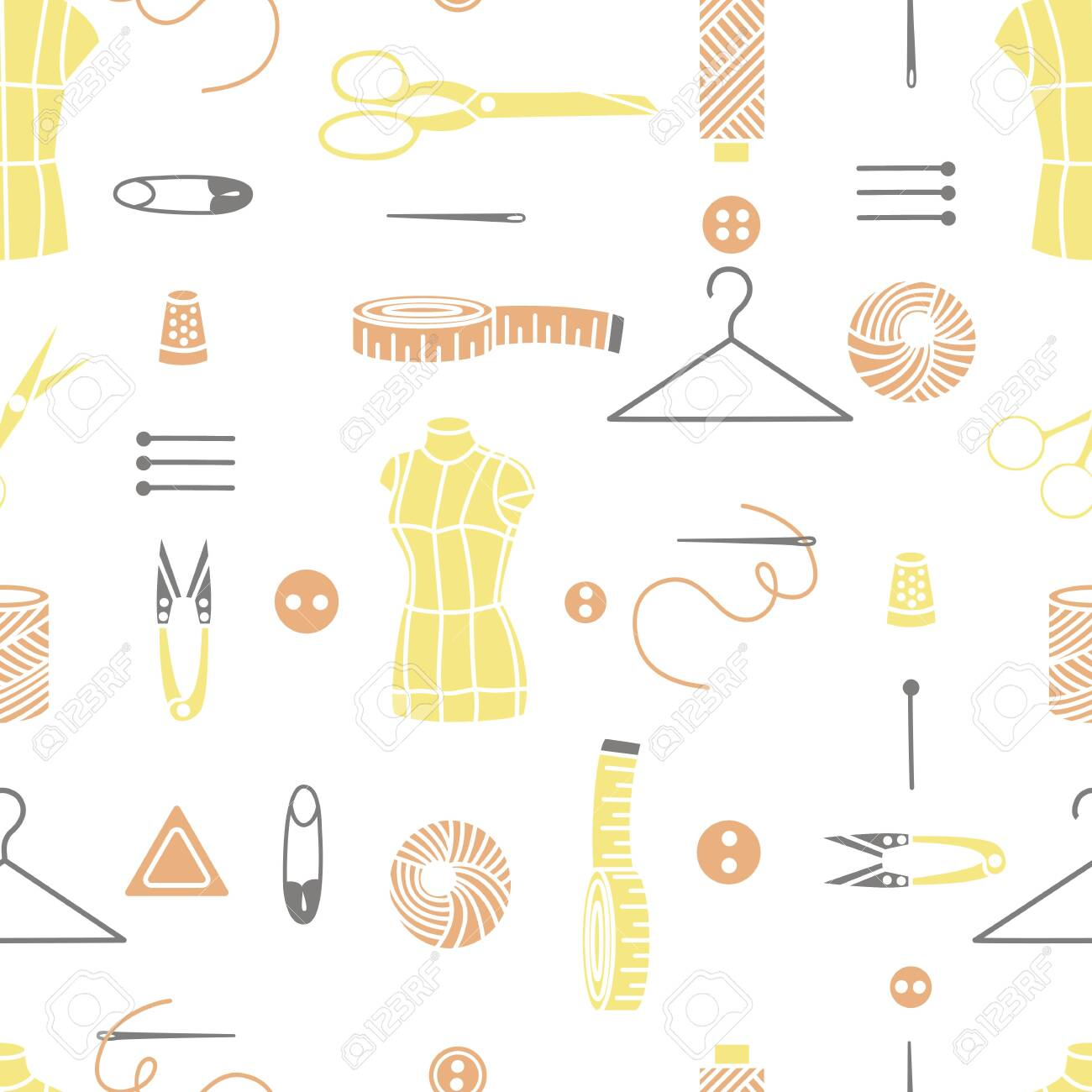 Sewing Tools Seamless Pattern Vector Background Colorful Sewing