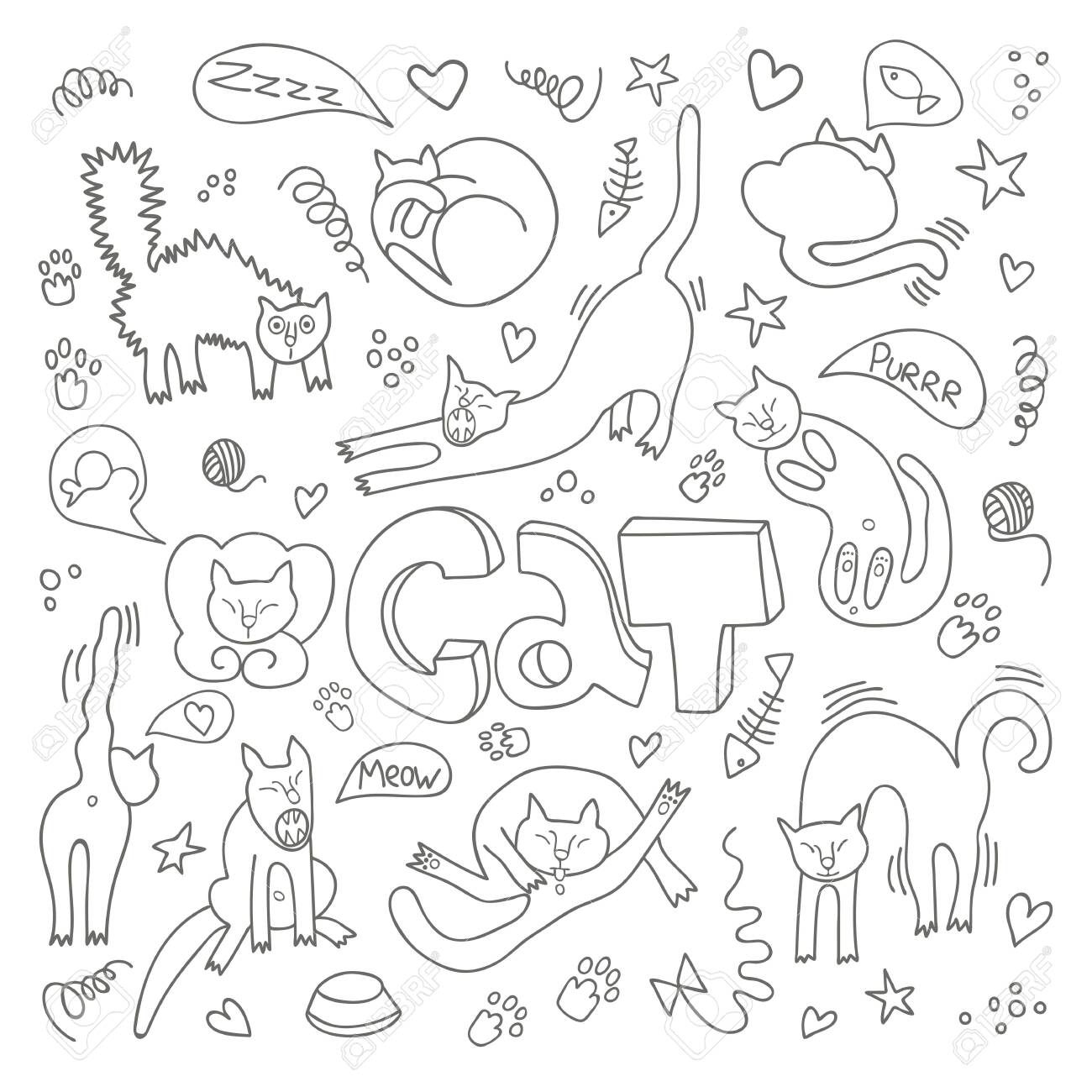 Hand drawn vector illustrations of cats characters. Flat style. Doodle with lettering Cat - 131857414