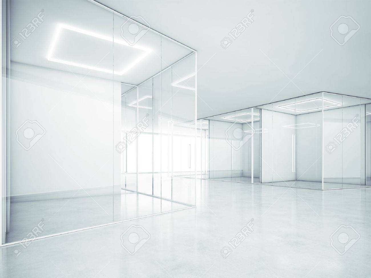 white office interior.  Office Stock Photo  White Office Interior 3D Rendering Inside Office Interior F