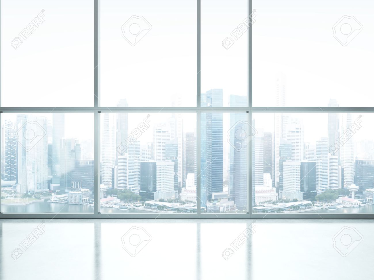 Interior office windows - Stock Photo White Interior With Large Windows 3d Rendering