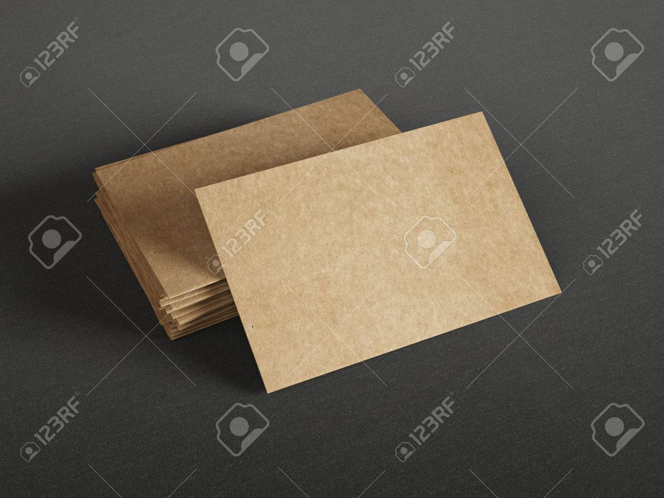 cardboard business cards on dark background stock photo picture