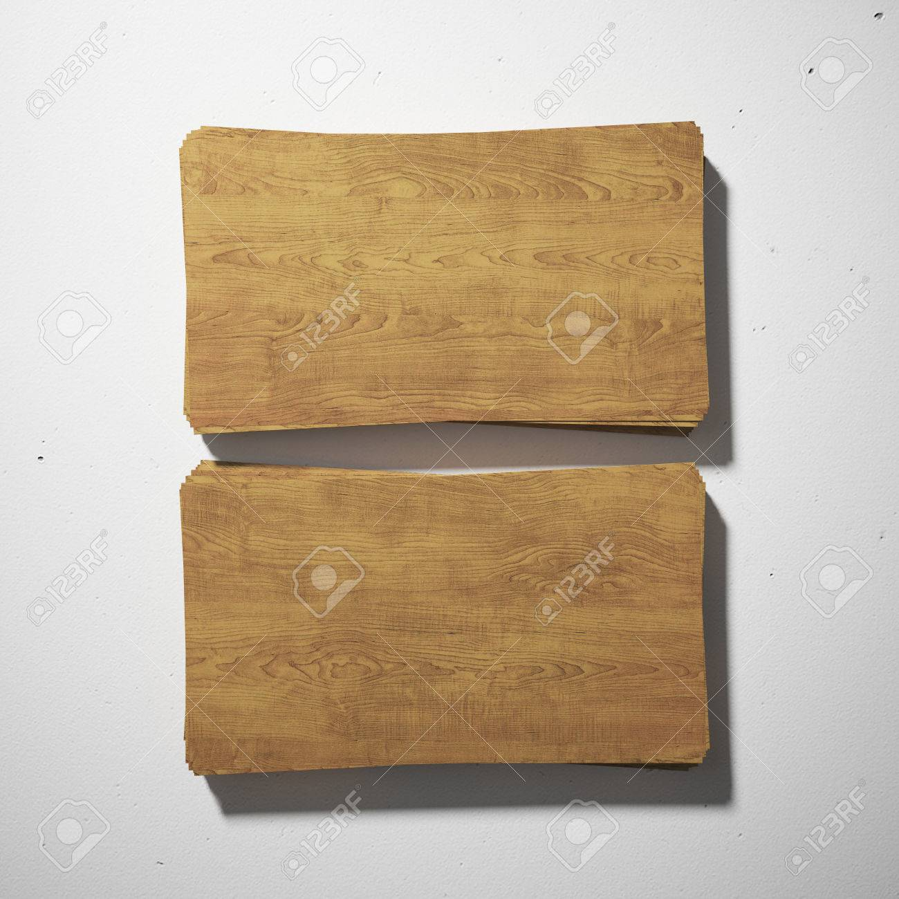 Wood Business Cards On White Concrete Stock Photo, Picture And ...