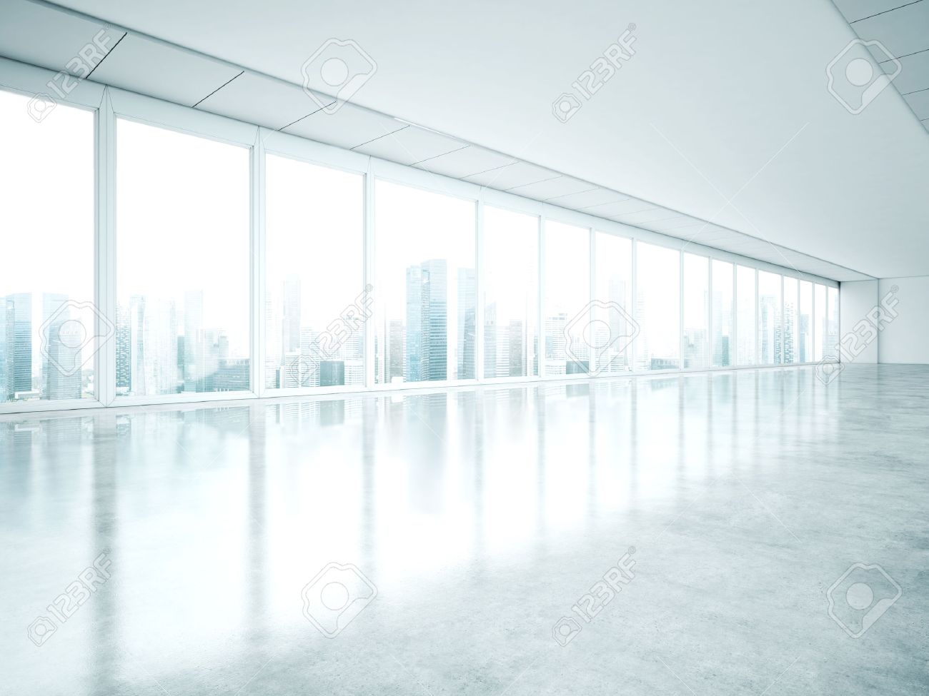 Interior office windows - White Interior With Large Windows 3d Rendering Stock Photo 40390705