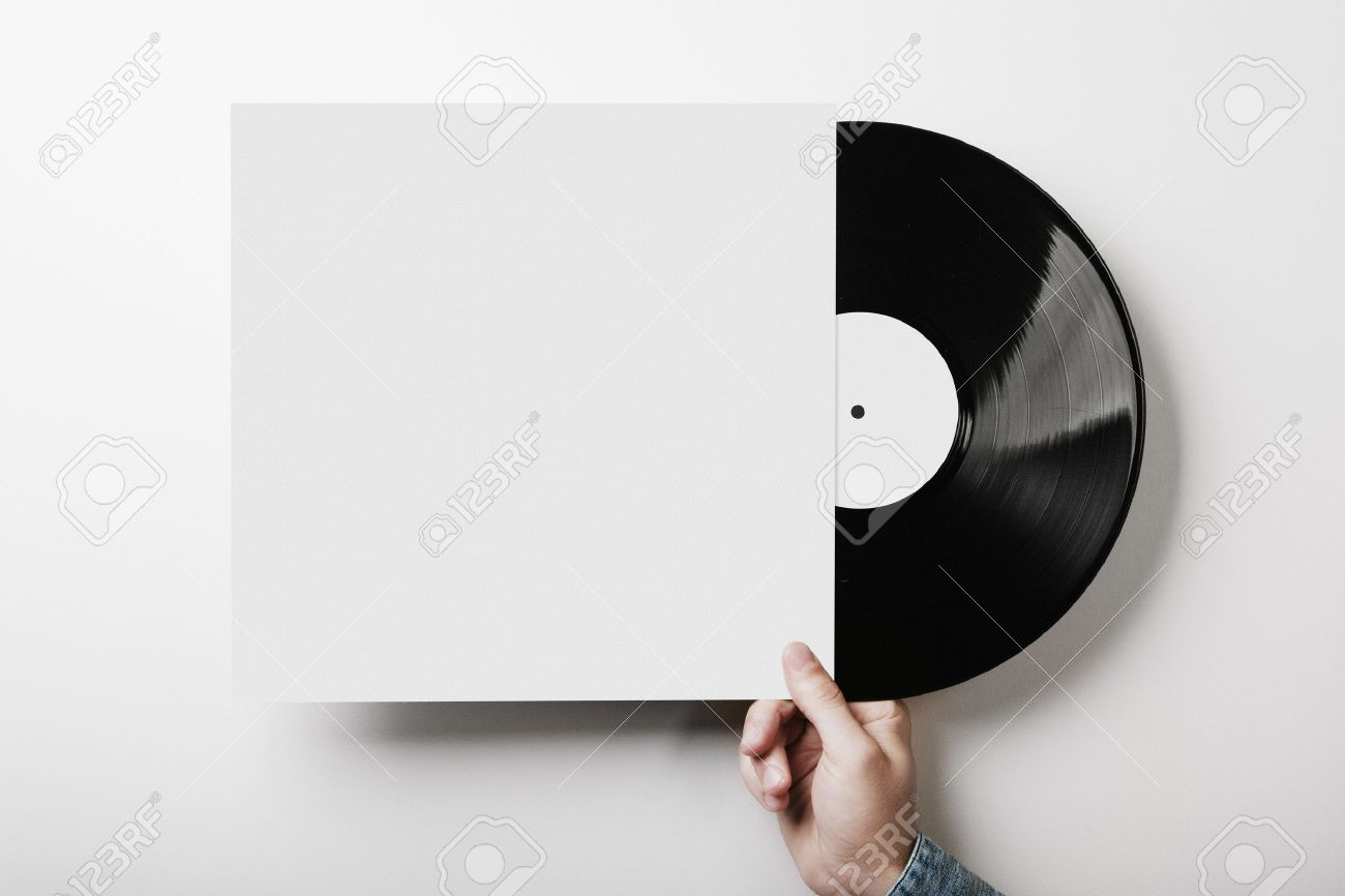 template of vinyl cover on white wall background stock photo