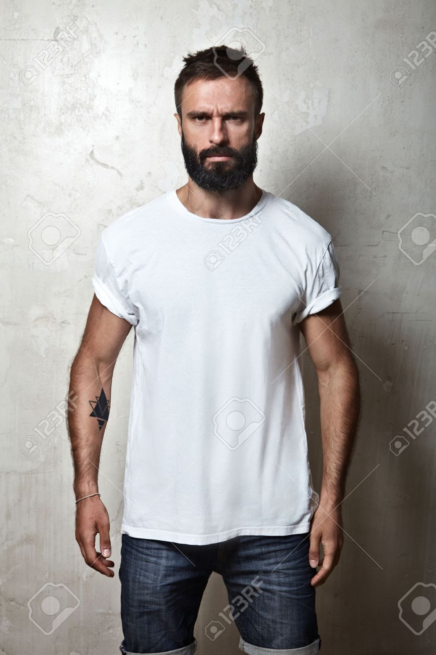 Black t shirt guy - Black T Shirt Portrait Of A Bearded Guy Wearing Blank T Shirt Stock Photo