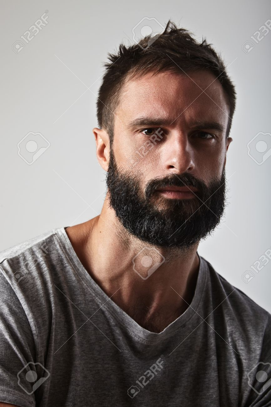 close up portrait of a handsome bearded man stock photo picture and