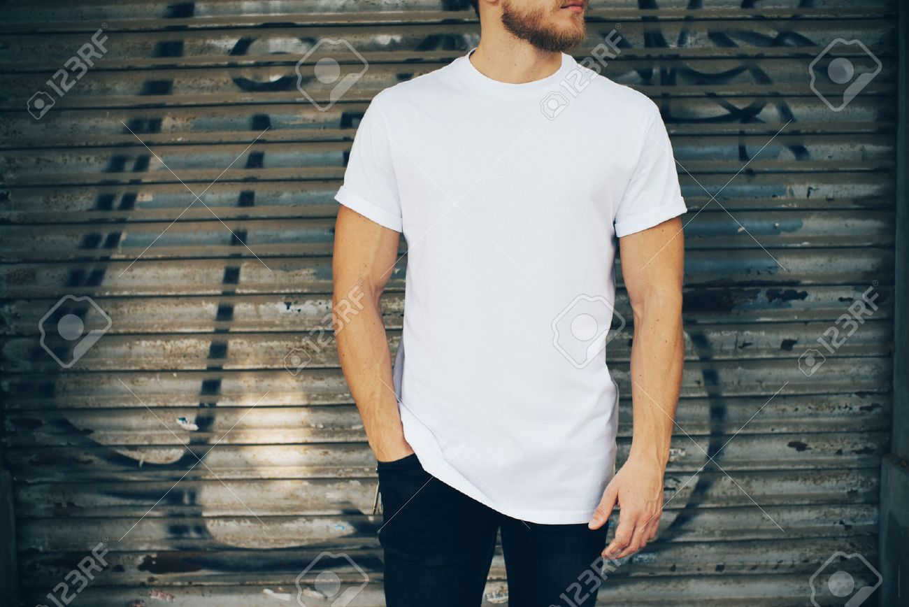 White t shirt blue jeans - Portrait Of A Bearded Man Wearing Blank T Shirt Blue Jeans And Standing On