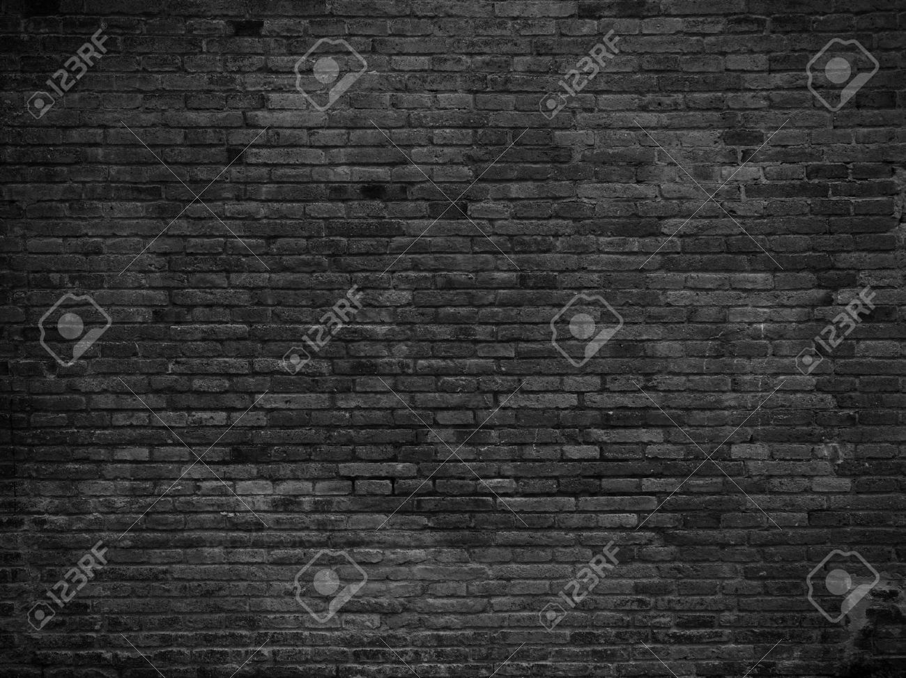 Part of black painted brick wall, horizontal Stock Photo - 46965571