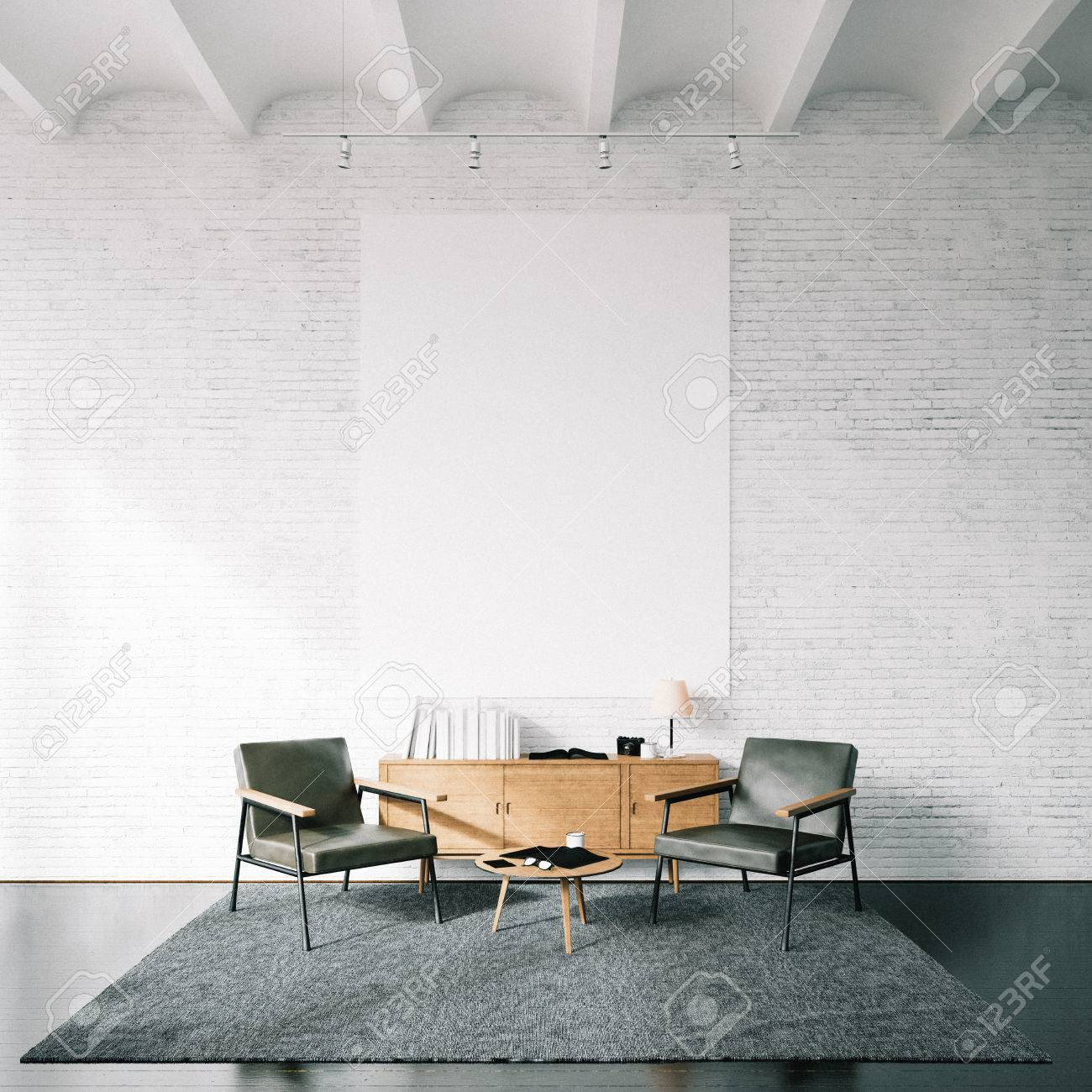 the bricks furniture. Blank White Canvas And Modern Furniture On The Bricks Wall Background. Stock S