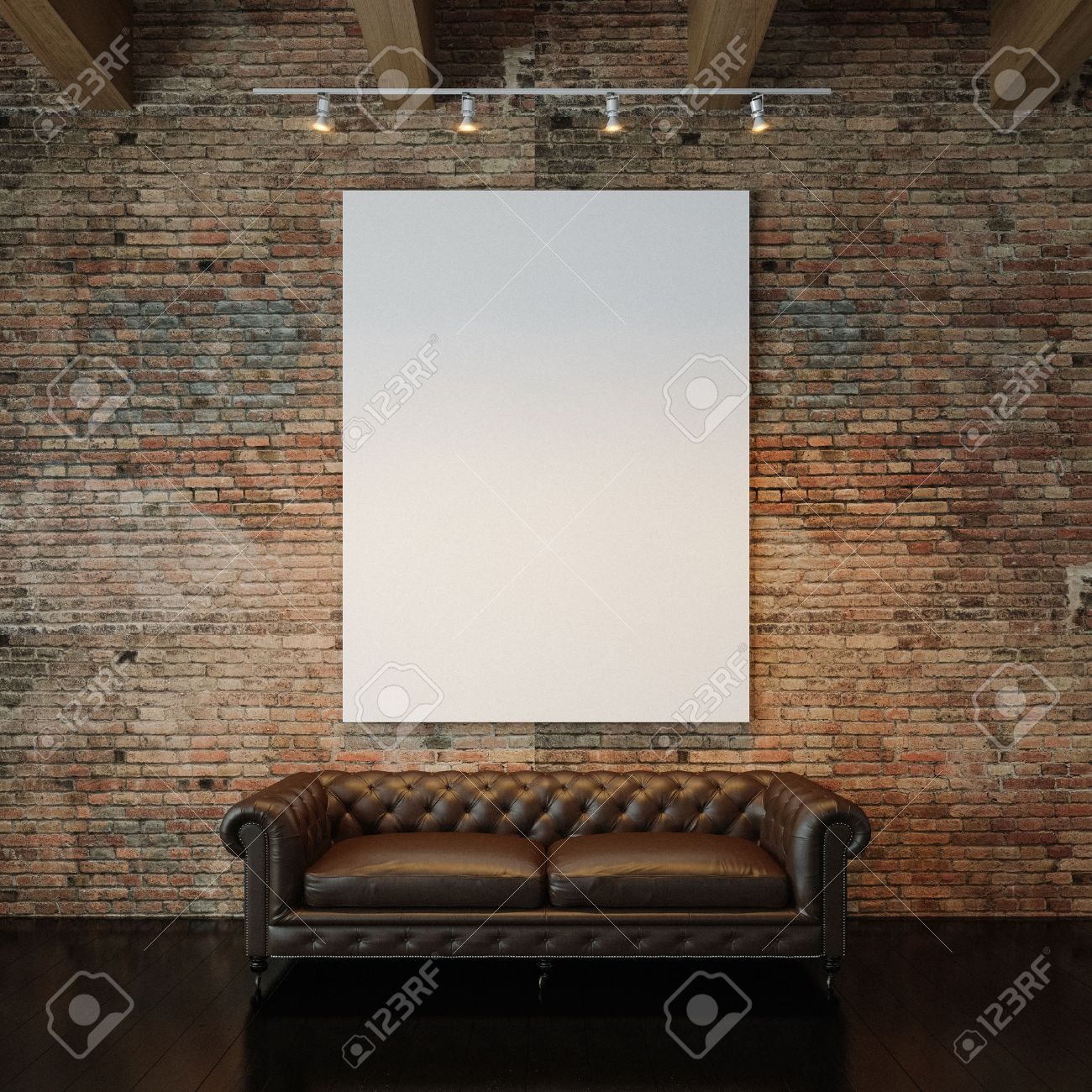 Plain wood table with hipster brick wall background stock photo - Blank White Canvas And Vintage Classic Sofa Against The Natural Brick Wall Background Vertical