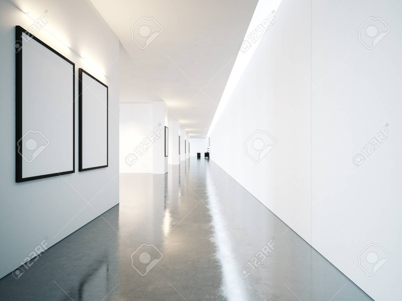 Empty Space Of Contemporary Gallery With Blank Frames Horizontal ...