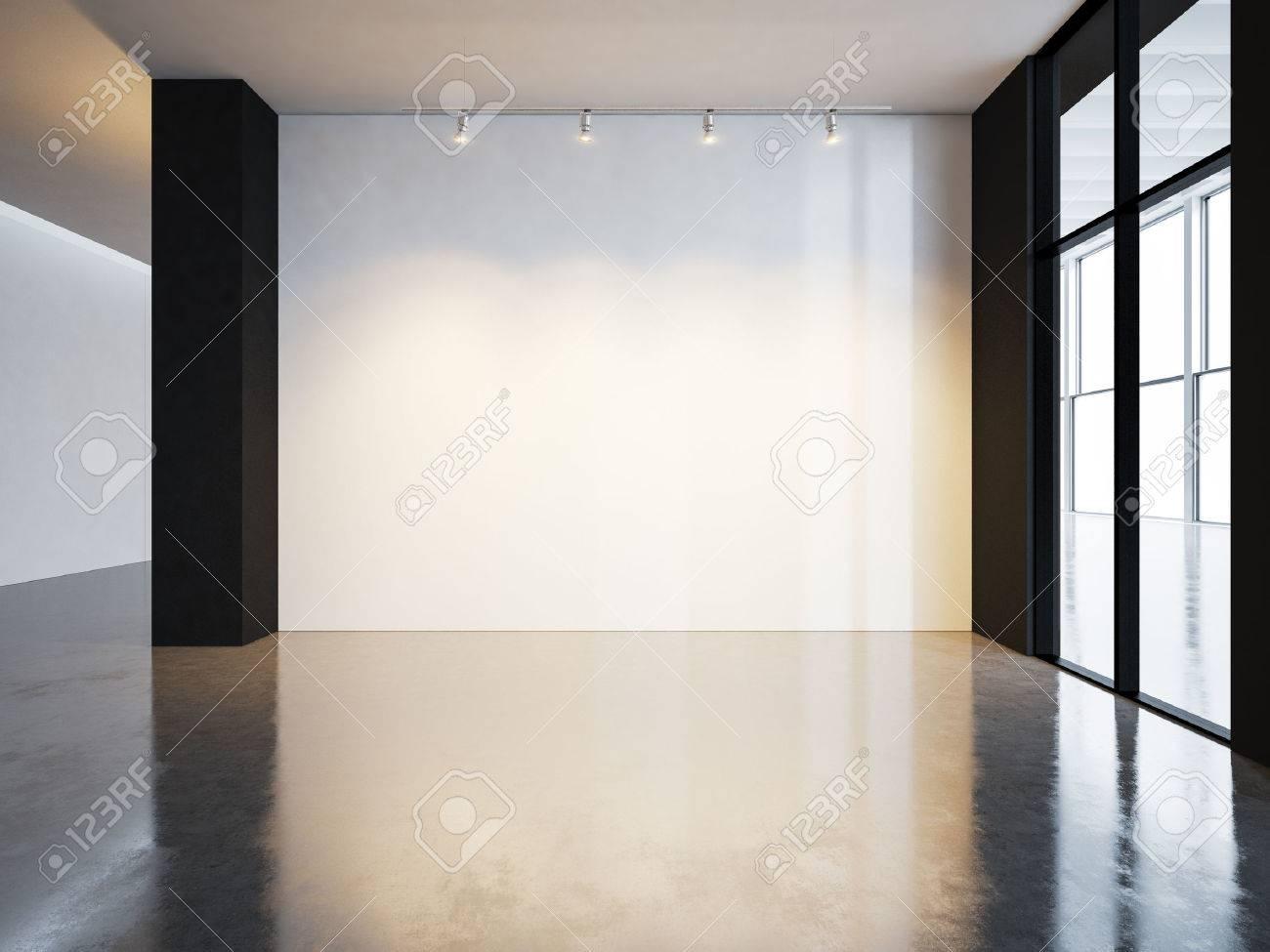 Sol En Beton Interieur toile vierge dans l'intérieur du musée avec sol en béton. horizontal