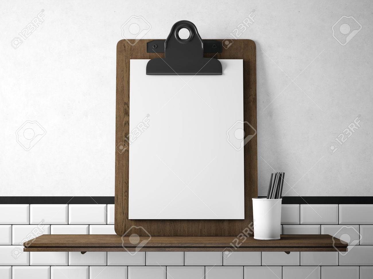 Set Of Blank Tablet With White Paper On The Wood Bookshelf Horizontal Stock Photo