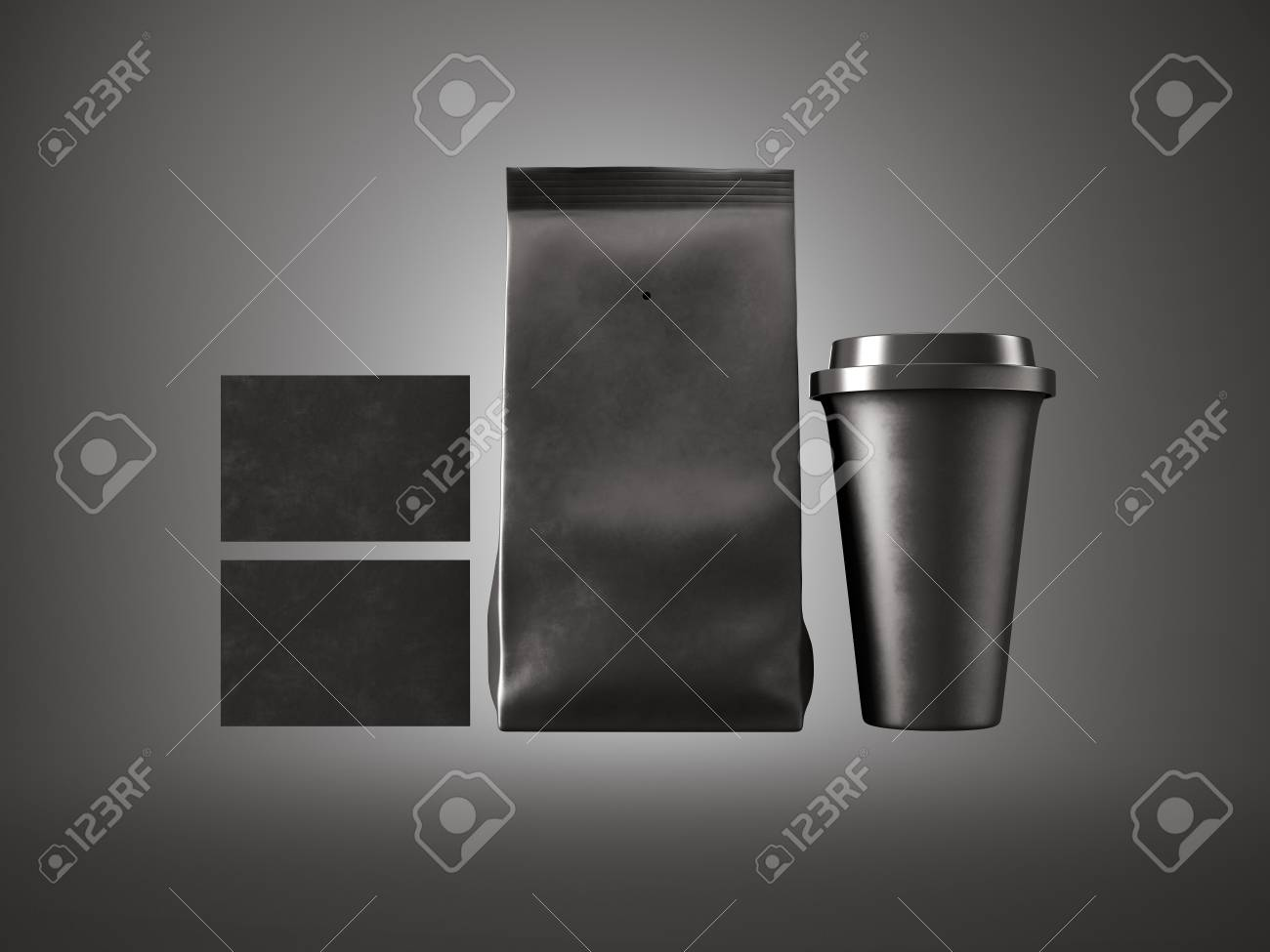 Set Of Black Paper Package, Coffee Cup And Two Blank Business ...