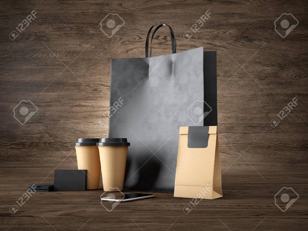 Ensemble De Sac Provisions Noir Deux Tasses Caf Paquet D