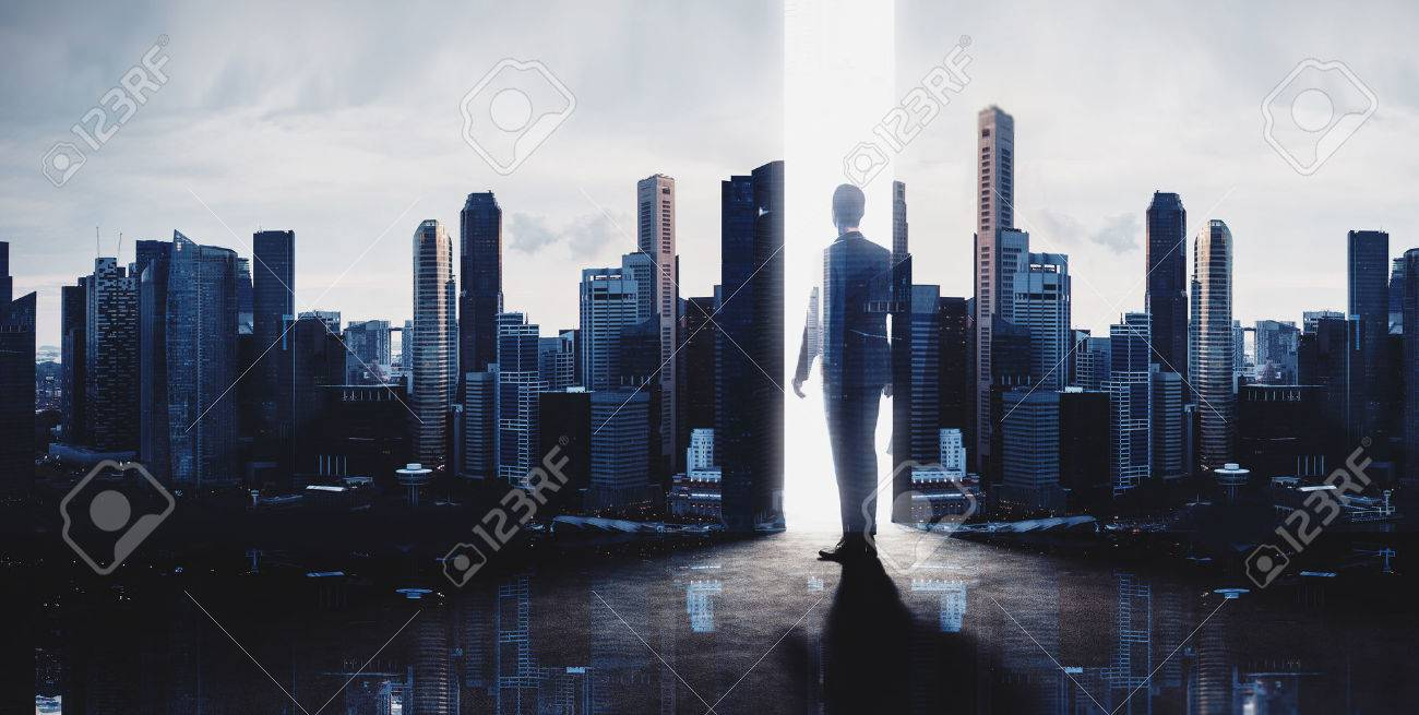 Concept of businessman. Double exposure photo of panoramic city view at sunrise - 52906043