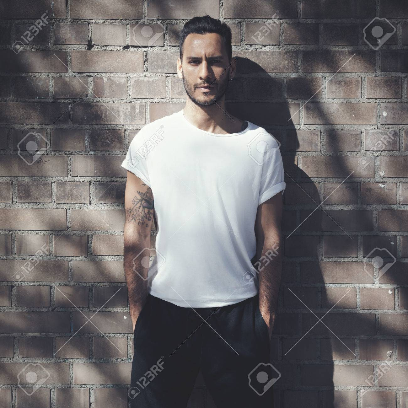 Bearded Man With Tattoo Wearing Blank White Tshirt And Black Stock