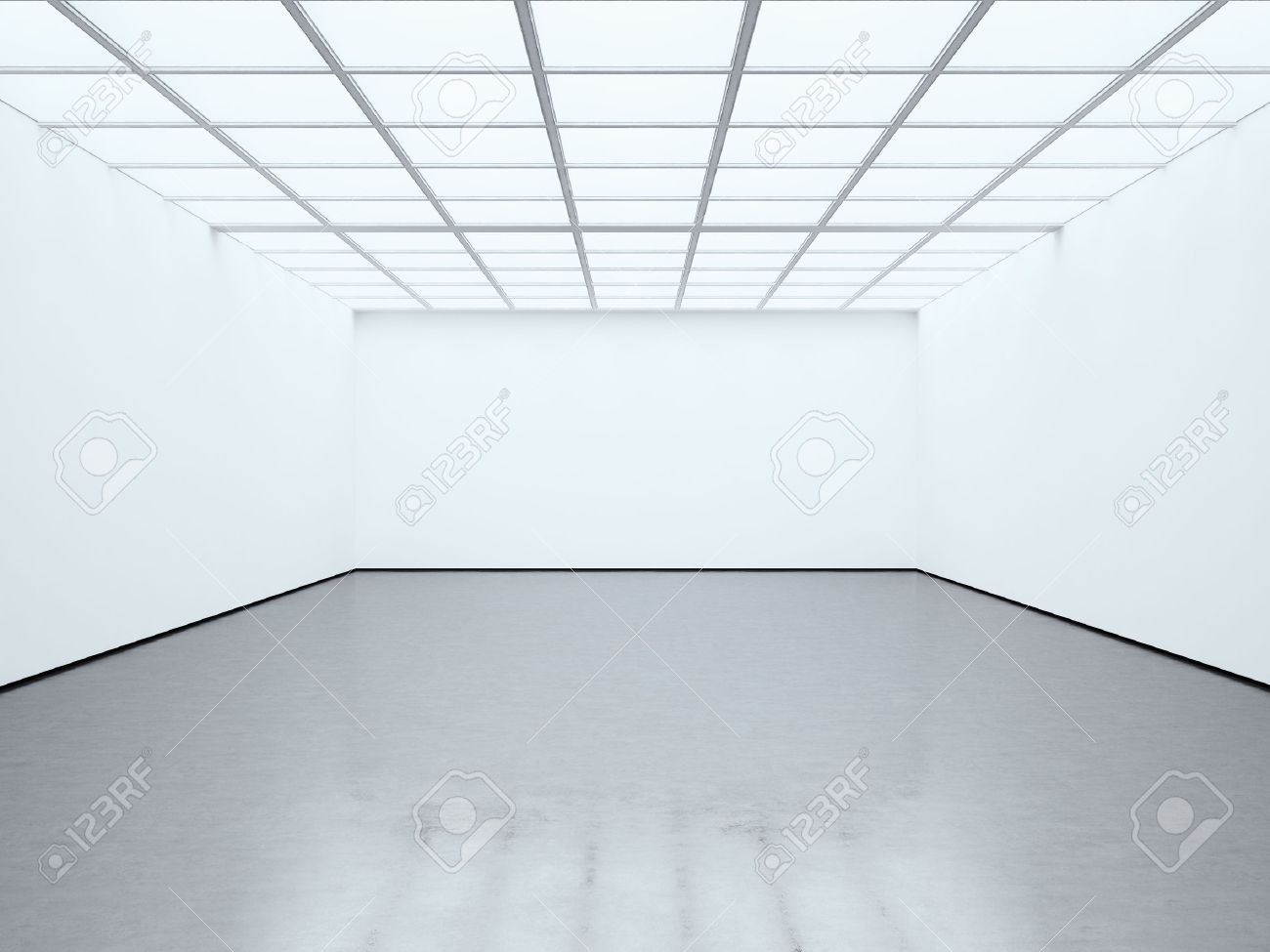 Photo Blank White Empty Room Contemporary Gallery Modern Open Space Expo With Concrete Floor