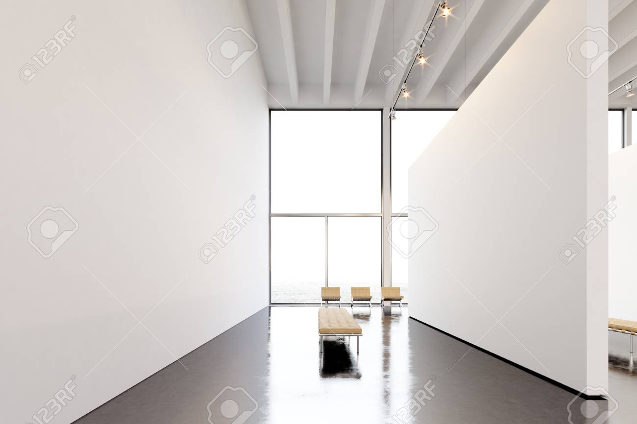 modern art furniture. Photo Exhibition Modern Gallery,open Space.Big White Empty Canvas Hanging Contemporary Art Museum Furniture T